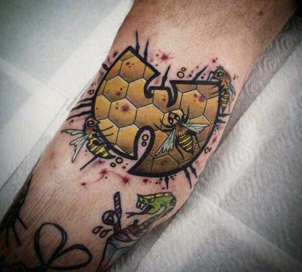 Cool Guys Wu Tang Tattoo Designs On Leg Calf