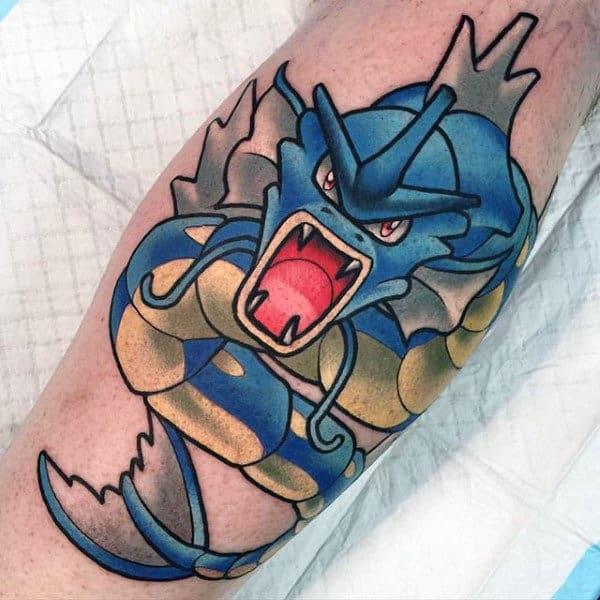 Cool Gyarados Male Pokemon Leg Calf Tattoo Designs