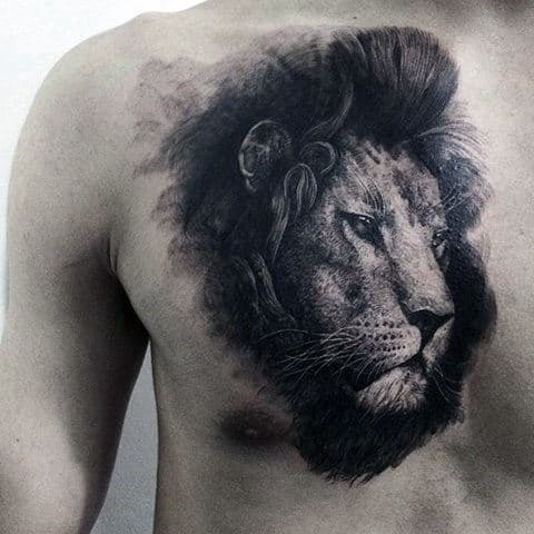 Cool Hairy Lion Tattoo Mens Chest