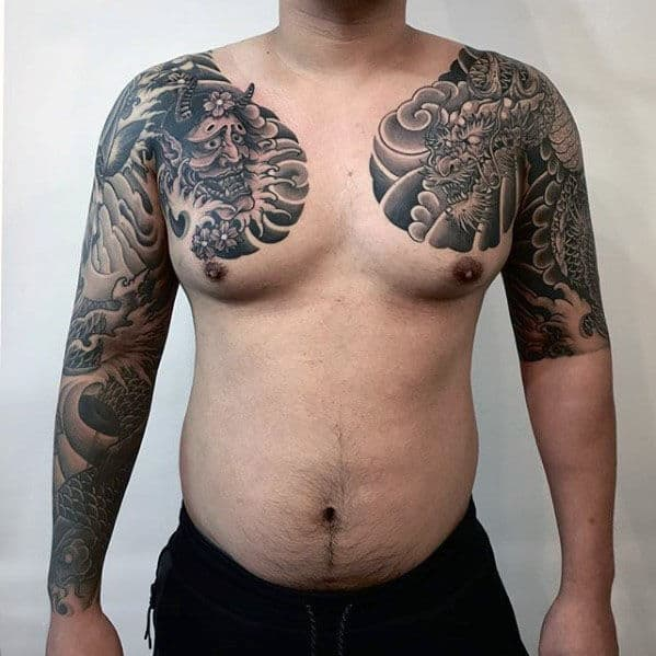Cool Half Sleeve Dragon Guys Japanese Tattoo Inspiration