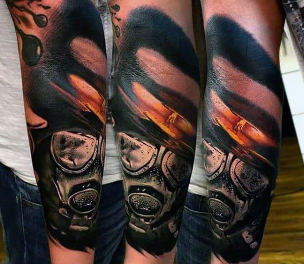 Cool Half Sleeve Mens Tattoo Of Gas Mask