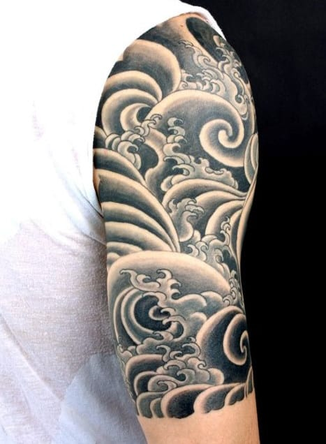 Cool Waves Half Sleeve Tattoos For Men