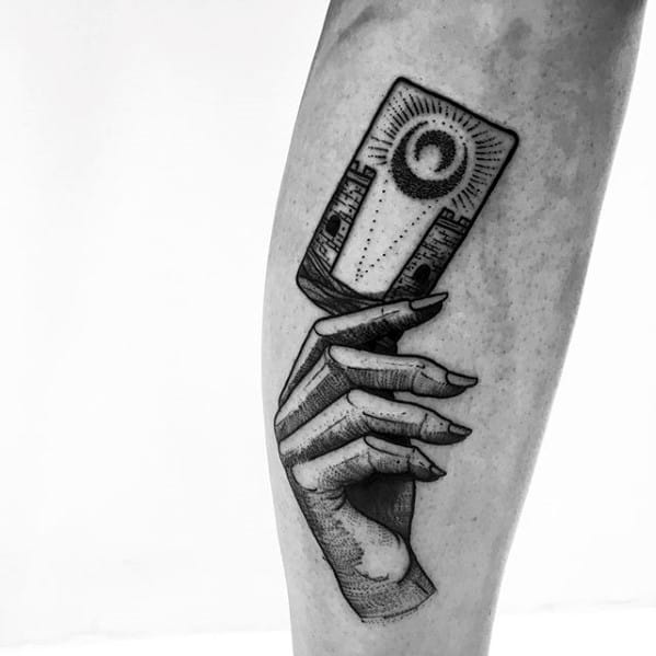Cool Hand Holding Tarot Card Mens Forearm Tattoo Ideas