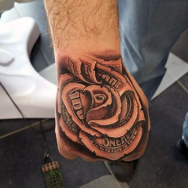 nexluxury money 3 rose hand tattoos