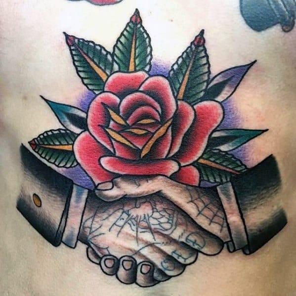 Cool Handshake Retro Old School Rose Flower Chest Tattoo Design Ideas For Male