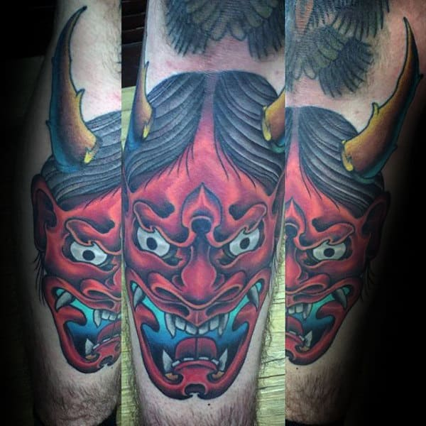 Cool Hannya Mask With Bull Horns Mens Leg Shin Tattoos