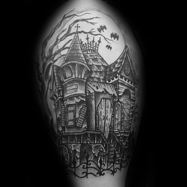 Cool Haunted House Tattoo Design Ideas For Male