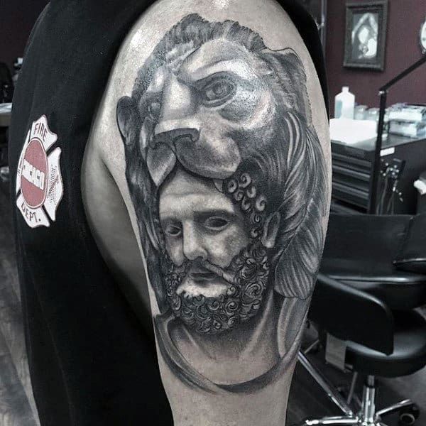 Cool Hercules With Lionskin Mens Upper Arm Tattoos