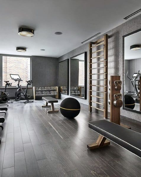 Cool Home Gym Hardwood Flooring