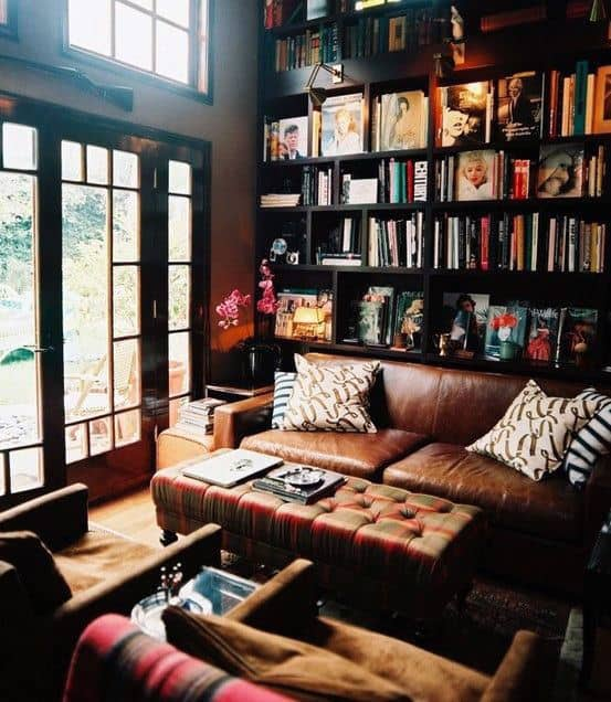 Cool Home Library Bookcase Design With Brown Leather Couch