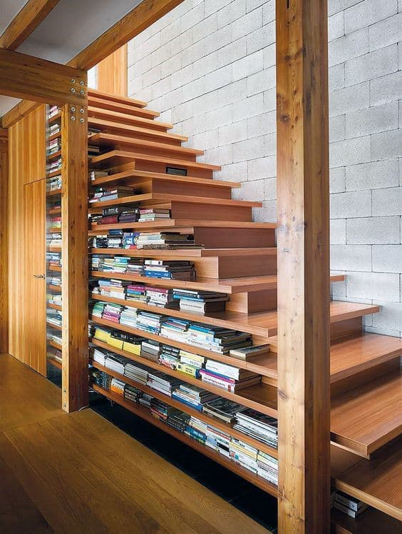 Cool Home Library Bookcase Under Hardwood Stairs