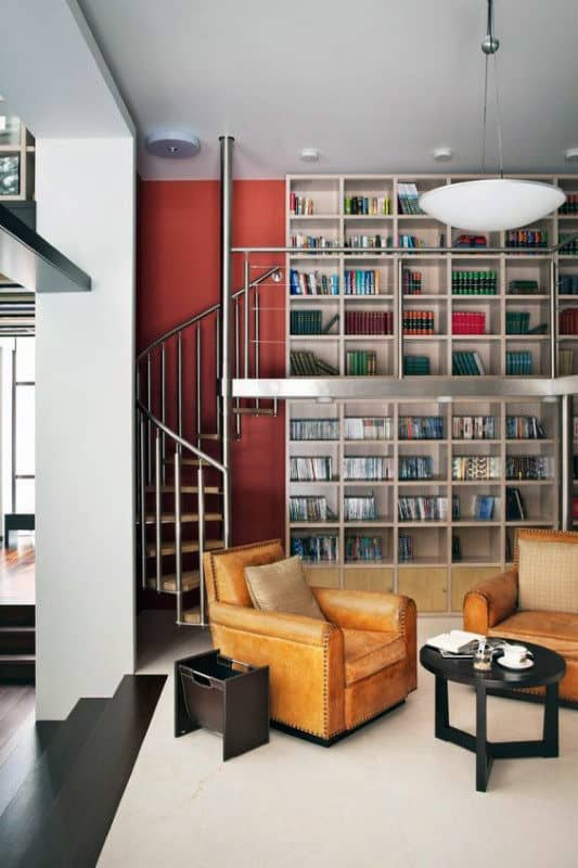 Cool Home Library Two Story With Steel Spiral Staircase