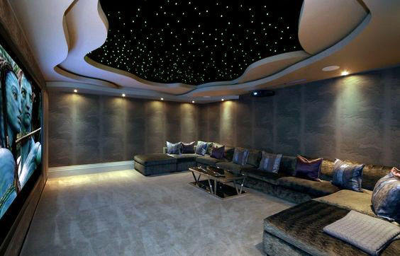 Cool Home Theater With Custom Cut Out Ceiling Design