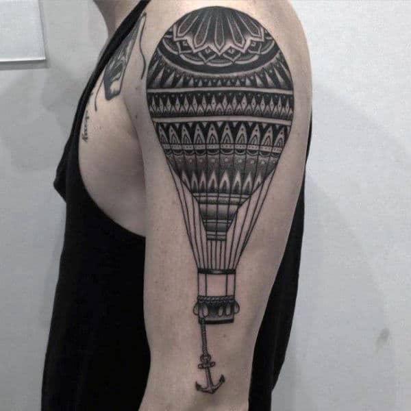Cool Hot Air Balloon With Anchor Mens Upper Arm Tattoo Designs