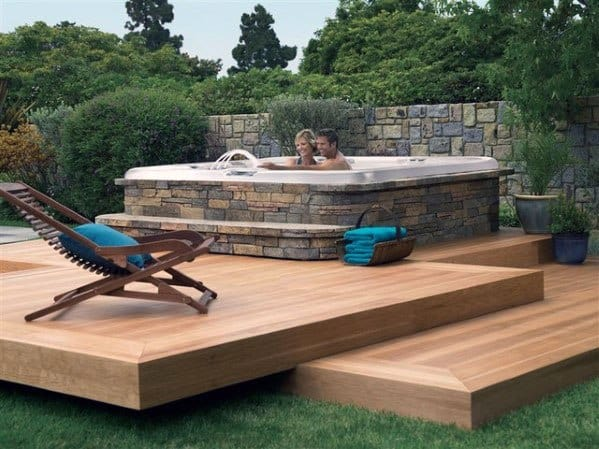 Cool Hot Tub Floating Deck Design Ideas With Stone Surround