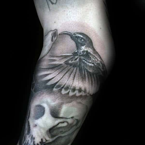 Cool Hummingbird Skull Mens Arm Tattoo Inspiration