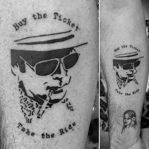 Cool Hunter S Thompson Tattoo With Fear And Loathing Design On Forearm