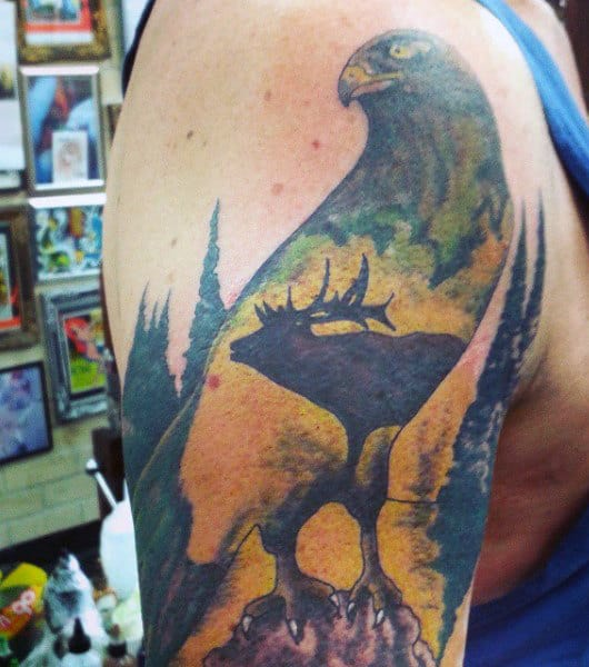 Cool Hunting Tattoos Ideas For Men On Arm In Color