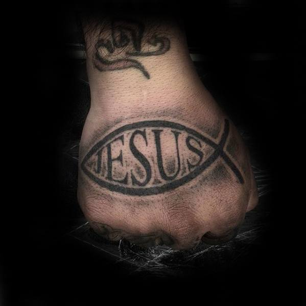 Cool Ichthus Jesus Hand Tattoo Design Ideas For Male