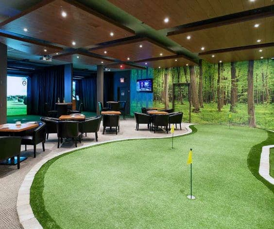 Cool Indoor Putting Green Mens Game Room Designs