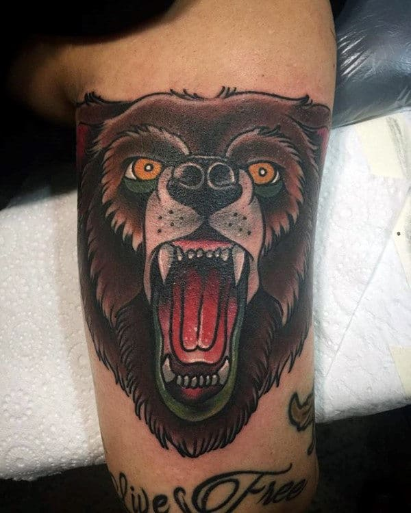 Cool Inner Arm Bicep Tattoo Of Traditional Bear For Males