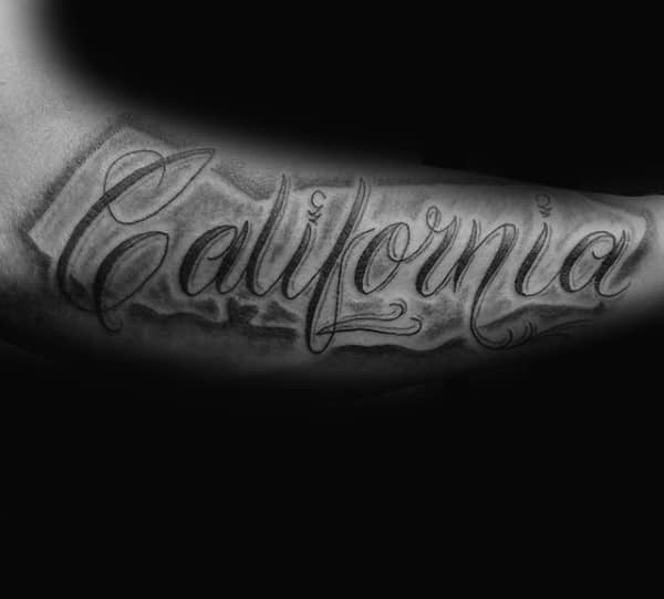 Cool Inner Arm Male California Orante Lettering Design Ideas
