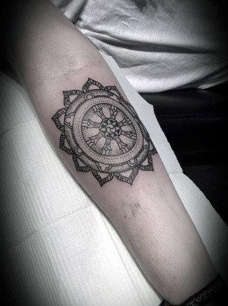 Cool Inner Forearm Dharma Wheel Tattoo Ideas For Males
