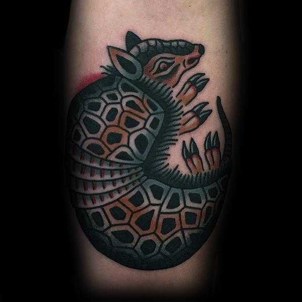 Cool Inner Forearm Male Armadillo Tattoo Designs