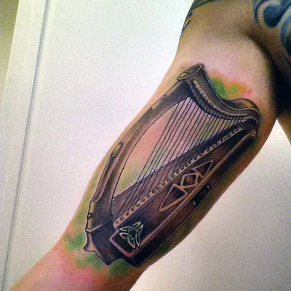 Cool Irish Harp Mens Inner Arm Tattoos