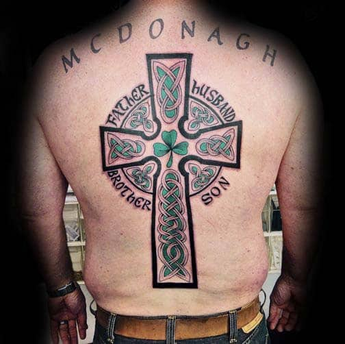 Cool Irish Ross With Green Design Guys Back Tattoo