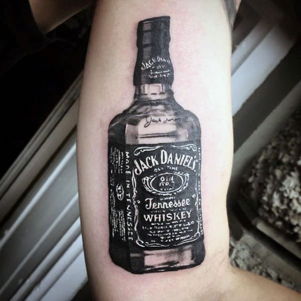Cool Jack Daniels Inner Arm Bicep Tattoos For Men