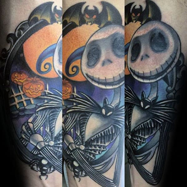 79672e4a799 Cool Jack Skellington Male Night Before Christmas Forearm Tattoos