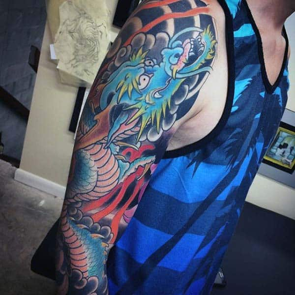 Cool Japanese Dragon Mens Sleeve Tattoos