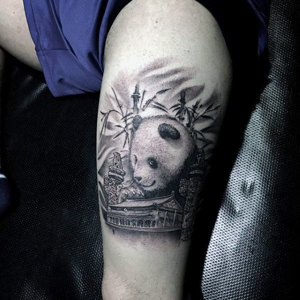 Cool Japanese Panda Thigh Tattoos For Guys