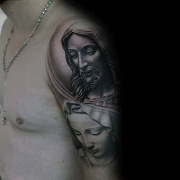 Cool Jesus And Mother Mary Upper Arm Tattoos With Shaded Ink Design