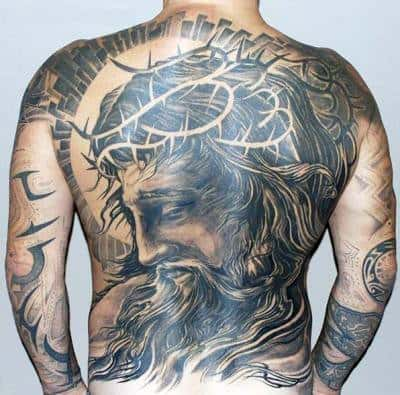 Cool Jesus Crown Of Thorns Negative Space Guys Back Tattoos