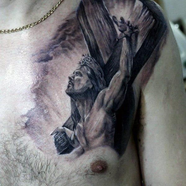 Cool Jesus On Cross 3d Mens Upper Chest And Shoulder Tattoos