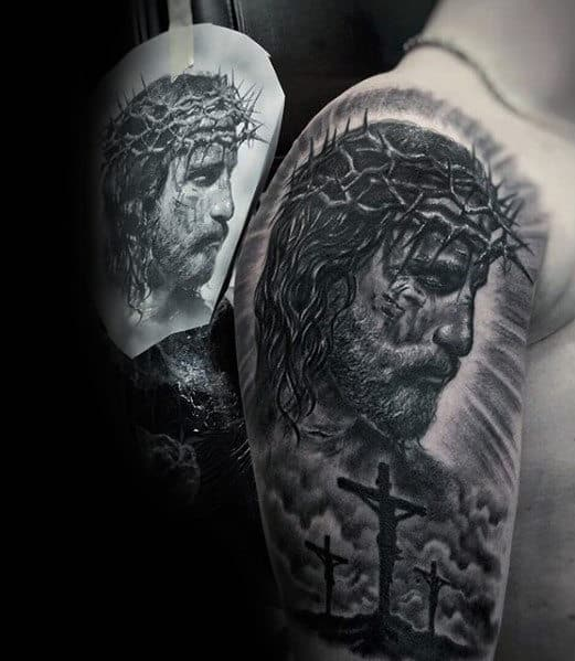 Cool Jesus Wearing Crown Of Thorns With Cross Guys Arm Tattoo Ideas