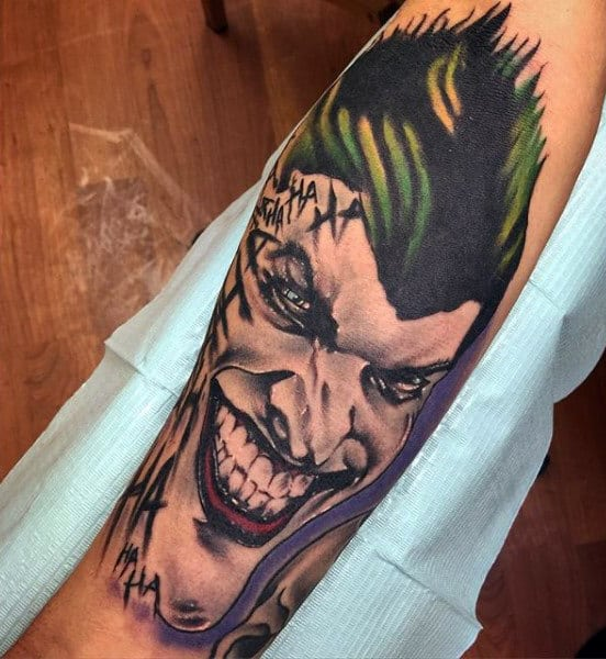 Cool Joker Batman Inner Forearm Tattoo On Man