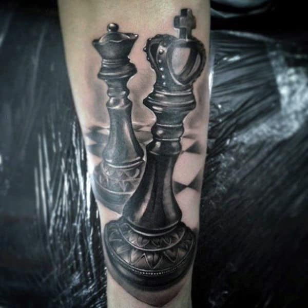 Cool King Chess Piece With Queen Mens Forearm Tattoos