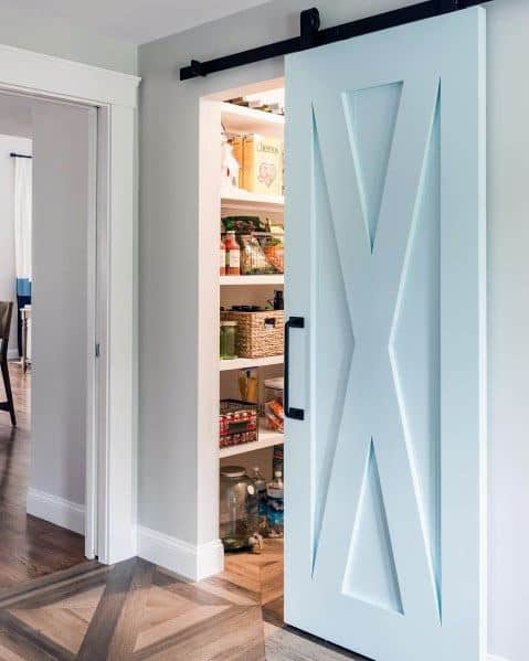 Cool Kitchen Pantry Sliding Barn Door Design Ideas