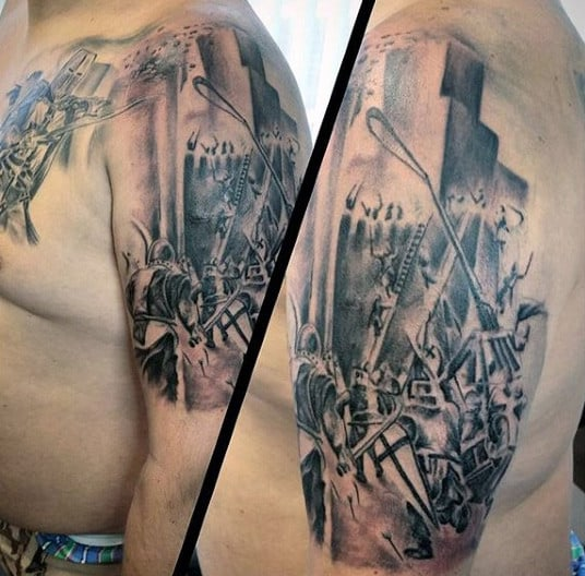 Cool Knight With Shield And Hemet Tattoo On Man