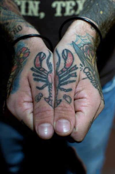 Cool Knuckle Lobster Tattoo Design For Men