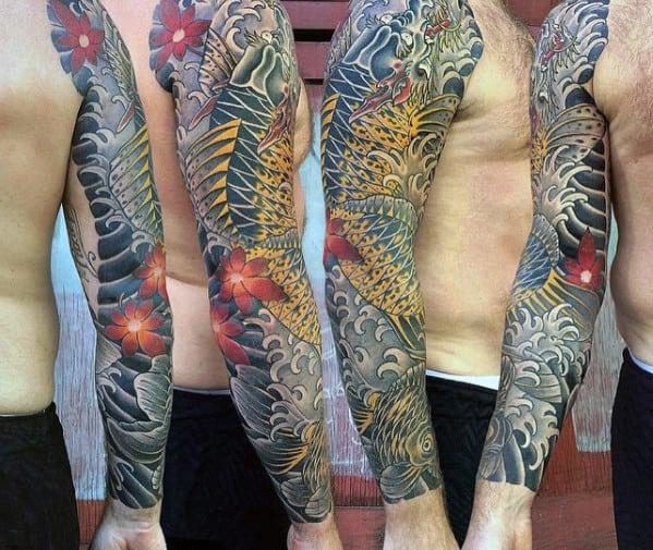 Cool Koi Dragon Full Sleeve Mens Japanese Tattoo Ideas