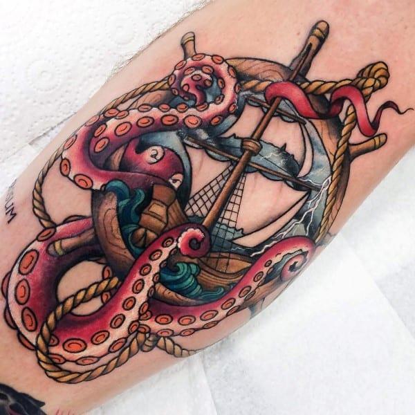 Cool Kraken Ship Wheel Male Tattoo Inspiration