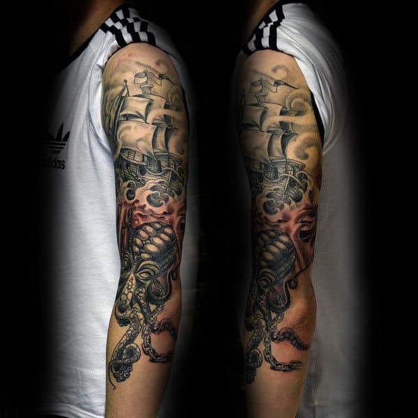 Cool Kraken Themd Guys Half Sleeve Tattoo Inspiration