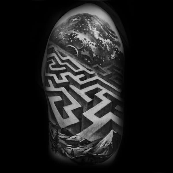 Cool Labyrinth Tattoos For Men