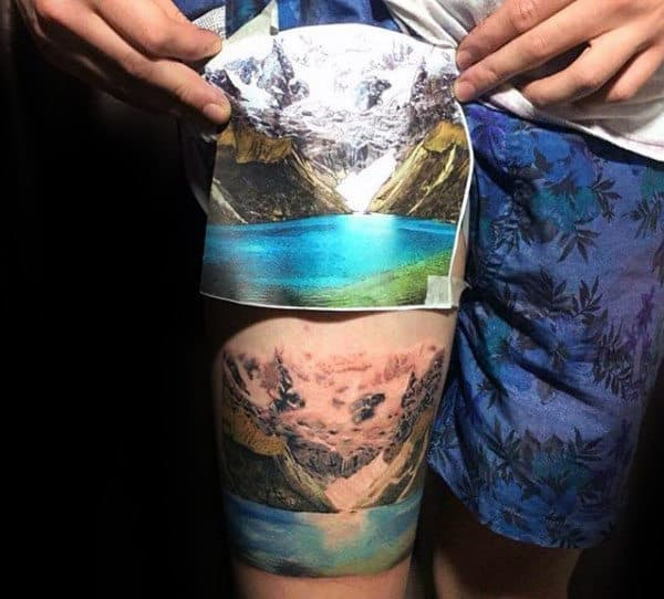 Cool Landscape Realistic Thigh Tattoo On Gentleman