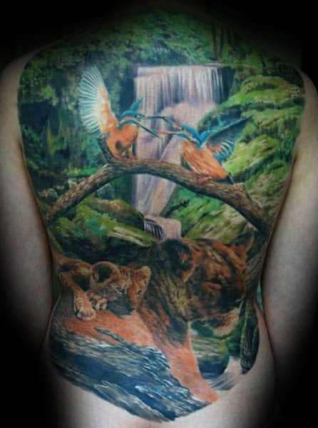 Cool Landscape Waterfall Nature Male Full Back Tattoo Inspiration