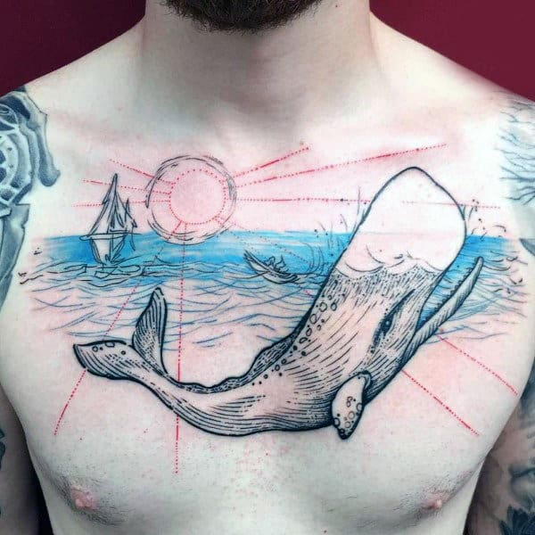 Cool Large Shark Tattoo Male Chest
